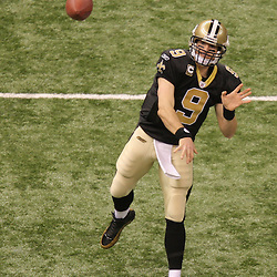 16 January 2010:  New Orleans Saints quarterback Drew Brees (9) on the field prior to kickoff against the Arizona Cardinals for the 2010 NFC Divisional Playoff game at the Louisiana Superdome in New Orleans, Louisiana.