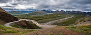 Views of the Alaska Range from Polychrome Overlook. Denali National Park, Alaska, USA. This image was stitched from multiple overlapping photos.