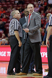 09 December 2017:  Gerry Pollard and Dan Muller have a brief discussion before a time out begins during a College mens basketball game between the Murray State Racers and Illinois State Redbirds in  Redbird Arena, Normal IL