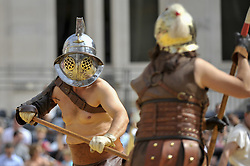 August 26, 2017 - London, England, United Kingdom - Members of the Brittania re-enactment group put on Gladitorial Games in Guildhall Yard, the site of London's only Roman Amphitheatre.  The Gladiator Games will be entertaining crowds over the August Bank Holiday Weekend. (Credit Image: © Stephen Chung/London News Pictures via ZUMA Wire)