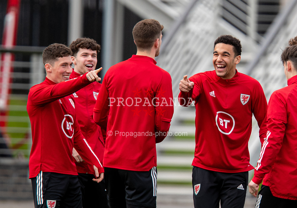 CARDIFF, WALES - Monday, March 29, 2021: Wales' Ben Cabango (R) and Harry Wilson (L) during a training session at the Vale Resort ahead of the FIFA World Cup Qatar 2022 Qualifying Group E game against the Czech Republic. (Pic by David Rawcliffe/Propaganda)