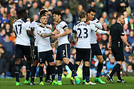 Son Heung-Min of Tottenham Hotspur (c) celebrates with his teammates after scoring his teams 2nd goal. Premier League match, Burnley v Tottenham Hotspur at Turf Moor in Burnley , Lancs on Saturday 1st April 2017.<br /> pic by Chris Stading, Andrew Orchard sports photography.