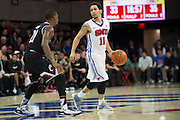 DALLAS, TX - JANUARY 7: Nic Moore #11 of the SMU Mustangs brings the ball up court against the Cincinnati Bearcats on January 7, 2016 at Moody Coliseum in Dallas, Texas.  (Photo by Cooper Neill/Getty Images) *** Local Caption *** Nic Moore