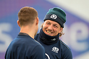 Hamish Watson is all smiles during the Scotland training session at the Oriam Sports Performance Centre, Heriot Watt University, Riccarton, Edinburgh on 10 March 2020, ahead of the Six Nations match with Wales.