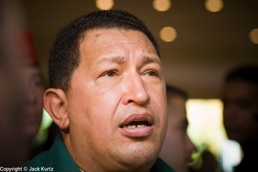 12 JANUARY 2007 - MANAGUA, NICARAGUA: HUGO CHAVEZ, President of Venezuela talks to reporters in Managua before he left Nicaragua to return to Venezuela. Chavez has promised massive amounts of aid  for Nicaragua including free and discounted oil and portable electric generating stations. Nicaragua is the second poorest country in the western hemisphere.  Photo by Jack Kurtz