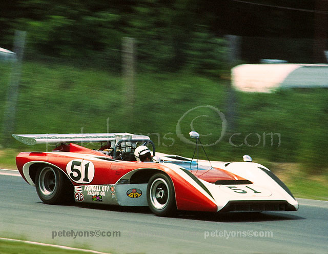 Dave Causey in his Lola T222 driving to a 7th place finish in the 1971 St. Jovite Can-Am