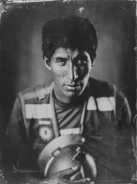 Tito Torres Uscamayta, miner. Tintype portraits from the SOTRAMI gold and silver mine in Santa Filomena, Peru. These are scans of collodion wetplate photographs.