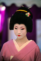 Geisha (geiko), Nishijin Yumematsuri (festival), Kitano-Tenmangu Shrine, Kyoto, Japan