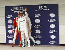 November 12, 2016 - Da esq. para dir. os pilotos Kimi Raikkonen (Scuderia Ferrari), Lewis Hamilton ( Mercedes AMG) e Nico Rosberg (Mercedes AMG) comemoram desempenho para a corrida, durante o segundo dia de treino para o Grande Premio do Brasil de Formula 1 2016 realizada no Autódromo de Interlagos. (Credit Image: © Aloisio Mauricio/Fotoarena via ZUMA Press)