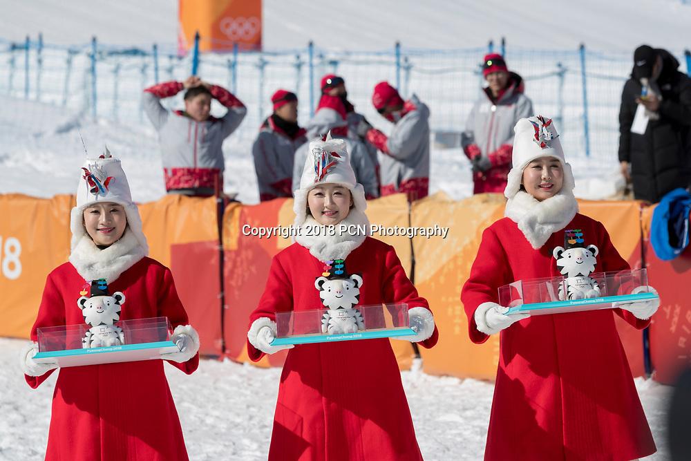 Award presenters with Soohorang the official mascot at the Ladies Snowboarding Half Pipe Olympic Winter Games PyeongChang 2018