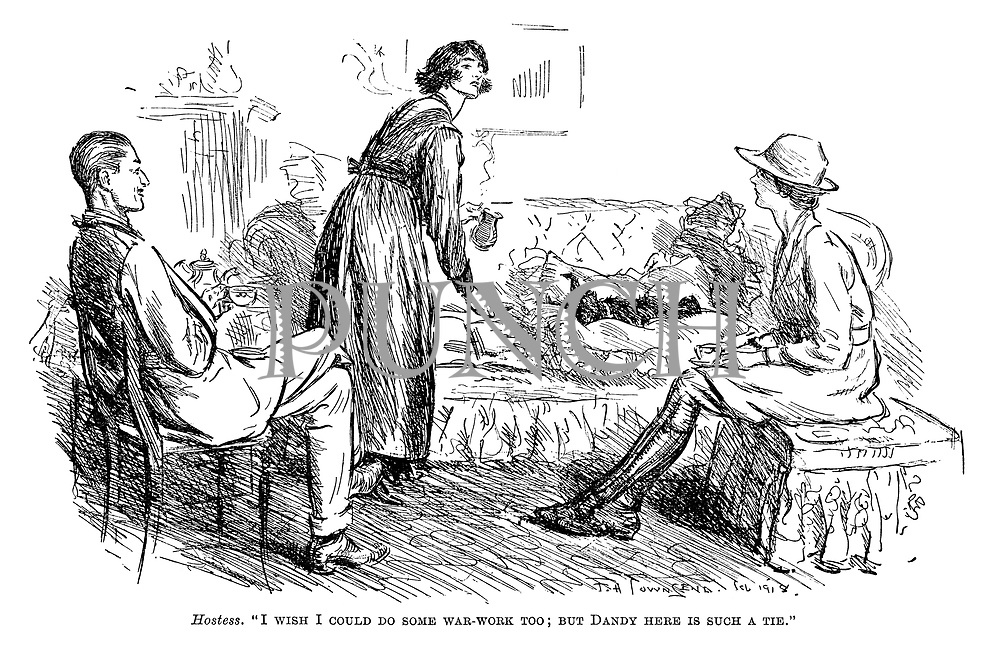 """Hostess. """"I wish I could do some war-work too; But Dandy here is such a tie."""""""