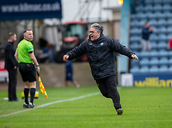 Partick Thistle's manager Ian McCall cele Kenny Miller scoring their first goal. Dundee 1 v 3 Partick Thistle, Scottish Championship game player 19/10/2019 at Dundee stadium Dens Park.