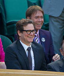 03.07.2014, All England Lawn Tennis Club, London, ENG, WTA Tour, Wimbledon, Tag 10, im Bild Colin Firth and Cliff Richard during the Ladies' Singles Semi-Final match on day ten // during day 10 of the Wimbledon Championships at the All England Lawn Tennis Club in London, Great Britain on 2014/07/03. EXPA Pictures © 2014, PhotoCredit: EXPA/ Propagandaphoto/ David Rawcliffe<br /> <br /> *****ATTENTION - OUT of ENG, GBR*****