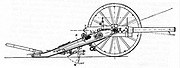 Creusot quick-firing field gun, or 'Long Tom' which delivered eighty-four-pound shells and was a powerful weapon in the Boer armoury. Engraving.