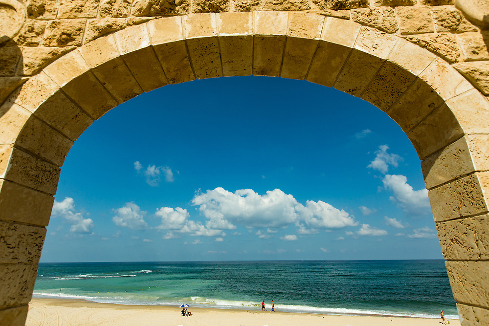 A view of the Mediterranean Sea from Givat Aliyah Beach, the southernmost beach of Tel Aviv-Jaffa in Jaffa's Ajami neighborhood