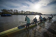 Putney, London, Varsity, Tideway Week, 5th April 2019, CUWBC, Blue Boat, Boating from the Hard, Embankment, Start of the Oxford Cambridge Media week, Championship Course,<br /> [Mandatory Credit: Peter SPURRIER], Friday,  05.04.19,