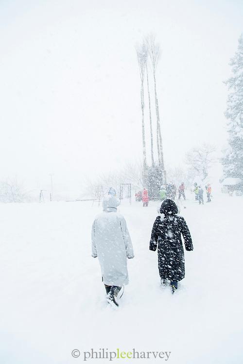 Rear view of people walking in heavy snow, Nozawaonsen, Japan