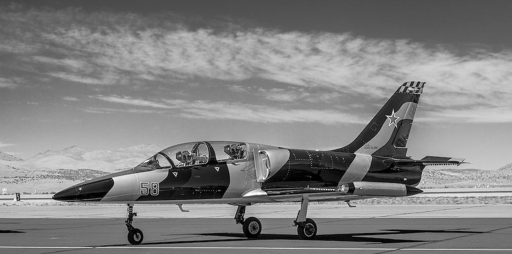 A Czech-built L-39C trainer sits on the ramp at the 2012 Reno Air Races.