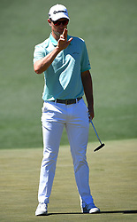 Justin Rose lines up a putt on the 2nd green during the third round of the Masters Tournament at Augusta National Golf Club in Augusta, Ga., on Saturday, April 8, 2017. (Photo by Jeff Siner/Charlotte Observer/TNS) *** Please Use Credit from Credit Field ***