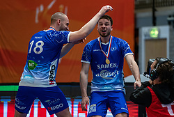 Dennis Borst of Lycurgus, Sam Gortzak of Lycurgus celebrate after the cup final between Amysoft Lycurgus vs. Draisma Dynamo on April 18, 2021 in sports hall Alfa College in Groningen