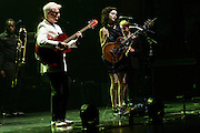 Photos of the musicians David Byrne and St. Vincent performing live at Beacon Theatre, NYC. September 25, 2012. Copyright © 2012 Matthew Eisman. All Rights Reserved.