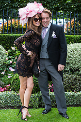 Ascot, UK. 20 June, 2019. Lizzie Cundy and Jeremy Gordeno join racegoers attending Ladies Day at Royal Ascot.