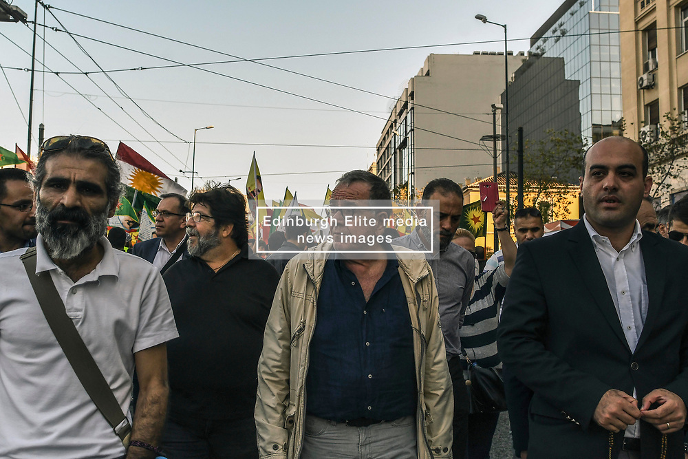 "The former Migration policy minister Yannis Mouzalas  during a protest near the Turkish embassy in Athens, on October 12, 2019. Turkey launched an assault on Kurdish forces in northern Syria with air strikes and explosions reported along the border. President Recep Tayyip Erdogan announced the start of the attack on Twitter, labelling it ""Operation Peace Spring"".<br /> <br /> Pictured: <br /> Dimitris Lampropoulos  