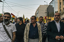 """The former Migration policy minister Yannis Mouzalas  during a protest near the Turkish embassy in Athens, on October 12, 2019. Turkey launched an assault on Kurdish forces in northern Syria with air strikes and explosions reported along the border. President Recep Tayyip Erdogan announced the start of the attack on Twitter, labelling it """"Operation Peace Spring"""".<br /> <br /> Pictured: <br /> Dimitris Lampropoulos  