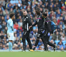 23 September 2017 Manchester : Premier League Football : Manchester City v Crystal Palace: Chritian Benteke of Palace departs the pitch with an injury.<br />  Photo: Mark Leech
