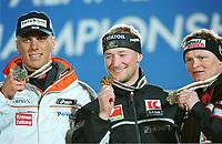 v.l. 2. Mario MATT, 1. Kjetil Andre AAMODT Norwegen, 3. Paul ACCOLA<br />      Ski alpin  Kombination     Ski WM 2001 St. Anton