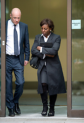 © London News Pictures. 24/06/2013. London, UK.  Judge Constance Briscoe (right) leaving Westminster Magistrates Court in London where she faced charges of perverting the course of justice. The charges relate to allegedly inaccurate statements and an allegedly altered witness statement during a police investigation into Chris Huhne and Vicky Pryce's driving offence. Photo credit should read: Ben Cawthra/LNP