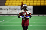4/12/2007 - Nian Taylor of the Alaska Wild takes the field for the teams first pre-game warm up at the Sullivan Arena in Anchorage.  The Alaska Wild could only score 33 points against the 46 points by the Frisco Thunder in the first professional football game in Alaska.