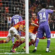 Galatasaray's Burak Yilmaz (R) goal during their Turkish Superleague soccer match Galatasaray between Orduspor at the AliSamiyen Spor Kompleksi TT arena in Istanbul Turkey on Monday 25 February 2013. Photo by Aykut AKICI/TURKPIX