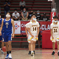 Rehoboth Lynx Talon West (14) and Raedon West (31) celebrate as West is fouled in the final seconds of the game  against the Jal Panthers in the New Mexico Class 2A boys basketball state final at The Pit in Albuquerque Friday. Rehoboth Christian defeated Jal 55-50.