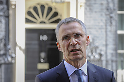 May 10, 2017 - London, UK - London, UK. NATO Secretary General Jens Stoltenberg gives a press conference outside Number 10 Downing Street after meeting Prime Minister Theresa May for talks. (Credit Image: © Stephen Chung/London News Pictures via ZUMA Wire)