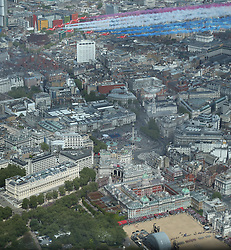 File photo dated 10/05/15 showing the Royal Air Force Red Arrows flying in formation over Trafalgar Square, London to mark the 70th anniversary of VE Day, celebrating VE (Victory in Europe) Day in London, marking the end of the Second World War in Europe now 75 years ago.