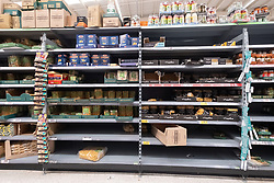 © Licensed to London News Pictures. 21/09/2020. London, UK. Virtually empty shelves of pasta at an Asda supermarket in Wembley. Some shoppers have been reported to start panic buying items including toilet paper and household good ahead of a feared second wave of Covid-19. Photo credit: London News Pictures