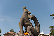A sculpture of a coyote decorates the town square in the tiny Purepecha town of Ihuatzio, Michoacan, Mexico.