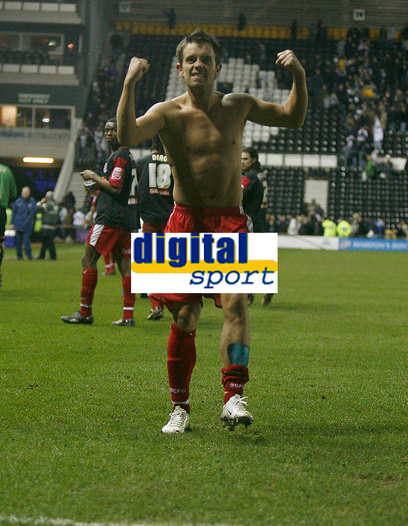 Lee Hendrie of Stoke City celebrates the win at Derby