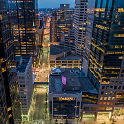 Downtown Kansas City, Missouri highrise building aerial drone view near 12th Street and Grand Avenue.