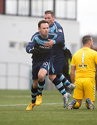 Forfar Athletic's James Lister cele scoring their second goal. Clyde 2 v 2 Forfar Athletic, Scottish League Two game played 4/3/2017 at Clyde's home ground, Broadwood Stadium, Cumbernauld.