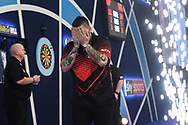 Michael Smith wins his semi final match against Nathan Aspinall to reach the final and celebrates during the World Darts Championships 2018 at Alexandra Palace, London, United Kingdom on 30 December 2018.