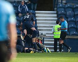 Falkirk players  cele Kris Faulds scoring their goal. Raith Rovers 1 v 1 Falkirk, Scottish Championship 28/9/2013.<br /> ©Michael Schofield.