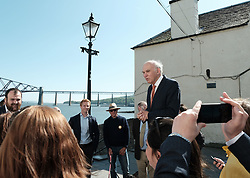 In front of the iconic Forth Rail Bridge, Liberal Democrat leader Vince Cable, former Change UK lead candidate David MacDonald, Lib Dem European election candidates and party activists unveiled a new election poster calling on Remain voters to unite to stop Brexit.<br /> <br /> Pictured: Sir Vince Cable MP gives a speech to party activists <br /> <br /> Alex Todd | Edinburgh Elite media