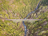 Aerial view of Vance Creek Bridge in Shelton, Washington, USA.