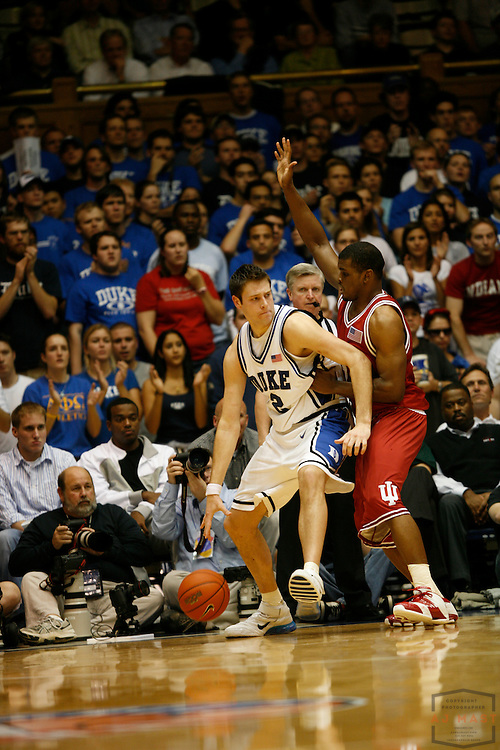 28 November 2006:Duke's Josh McRoberts (2) as the Indiana Hoosiers played the Duke Blue Devils in an ACC Big 10 Challenge game in Durham, NC. Duke won 54-51.