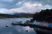 The picturesque harbour at Portree, the main town on the Isle of Skye, north-west Scotland