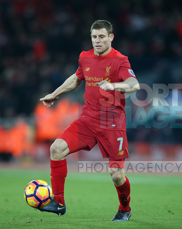 Liverpool's James Milner in action during the Premier League match at Anfield Stadium, Liverpool. Picture date December 27th, 2016 Pic David Klein/Sportimage
