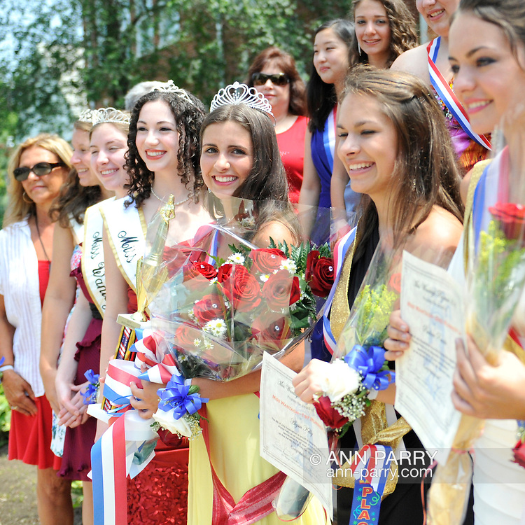 Miss Wantagh Pageant 2012 winner Hailey Orgass and past winners and runnersup at crowning ceremony, a long-time Independence Day tradition on Long Island, held Wednesday, July 4, 2012, in front of Wantagh School, New York, USA. Since 1956, the Miss Wantagh Pageant, which is not a beauty pageant, has crowned a high school student based mainly on academic excellence and community service.