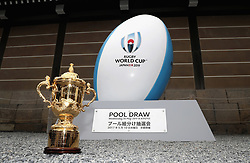The Webb Ellis Cup stands at Nijo Castle on the eve of the Rugby World Cup Japan 2019 Pool Draw, on May 9, 2017 in Kyoto, Japan. The Rugby World Cup Japan 2019 draw takes place on May 10, in Kyoto, Japan. Photo by Dave Rogers - World Rugby/PARSPIX/ABACAPRESS.COM